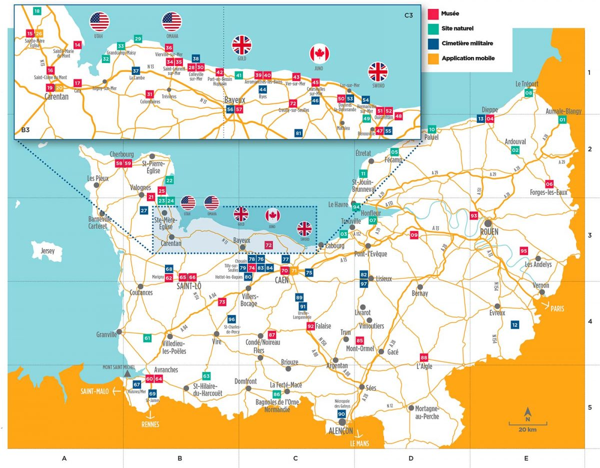 Map of the D-Day Landing Beaches: Utah, Omaha, Gold, Juno et Sword