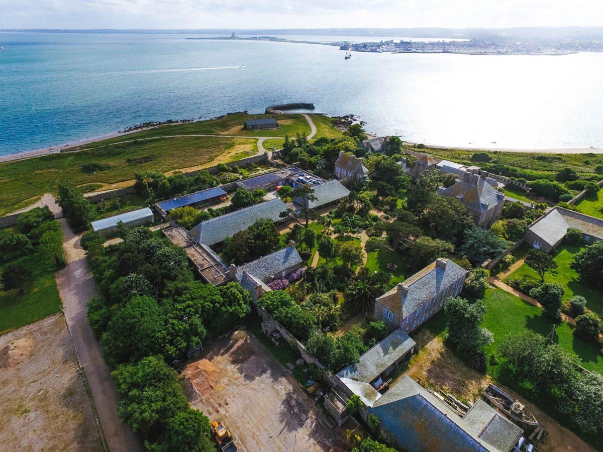 Vue aérienne de l'île Tatihou